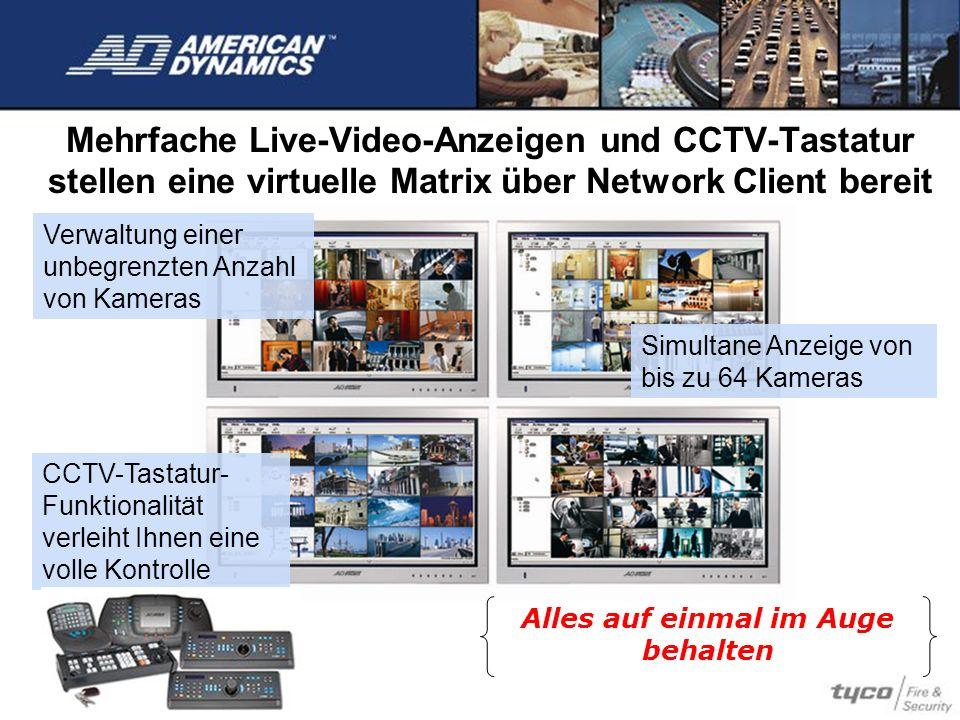 Mehrfache Live-Video-Anzeigen und CCTV-Tastatur stellen eine virtuelle Matrix über Network Client bereit Alles auf einmal im Auge behalten CCTV-Tastat