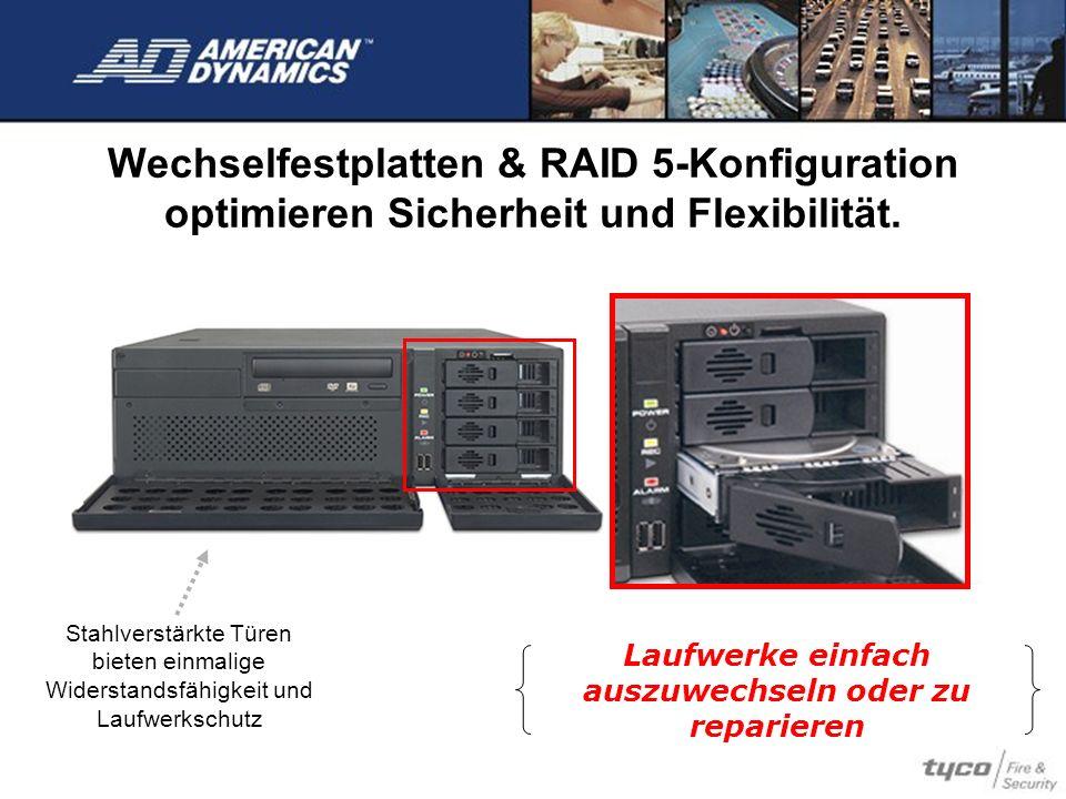 Wechselfestplatten & RAID 5-Konfiguration optimieren Sicherheit und Flexibilität. Laufwerke einfach auszuwechseln oder zu reparieren Stahlverstärkte T