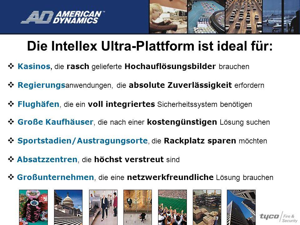 Die Intellex Ultra-Plattform ist ideal für: Kasinos, die rasch gelieferte Hochauflösungsbilder brauchen Regierungs anwendungen, die absolute Zuverläss