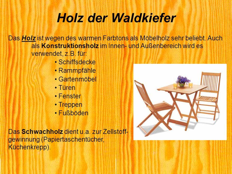 Das Holz ist wegen des warmen Farbtons als Möbelholz sehr beliebt. Auch als Konstruktionsholz im Innen- und Außenbereich wird es verwendet, z.B. für: