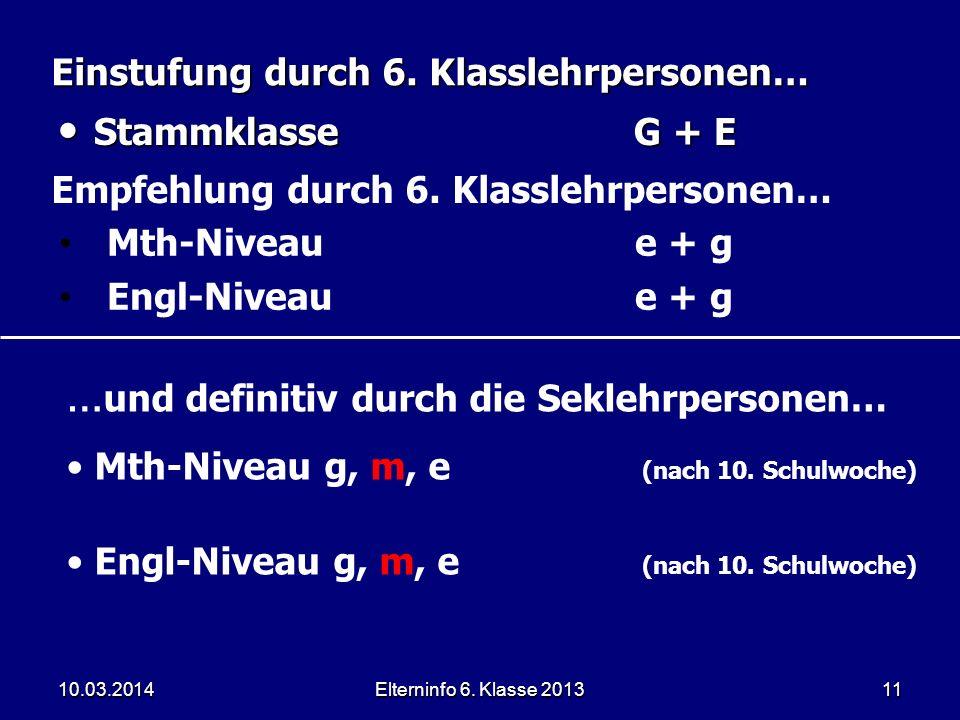 Elterninfo 6. Klasse 201311 Einstufung durch 6. Klasslehrpersonen… StammklasseG + E StammklasseG + E … und definitiv durch die Seklehrpersonen… Mth-Ni