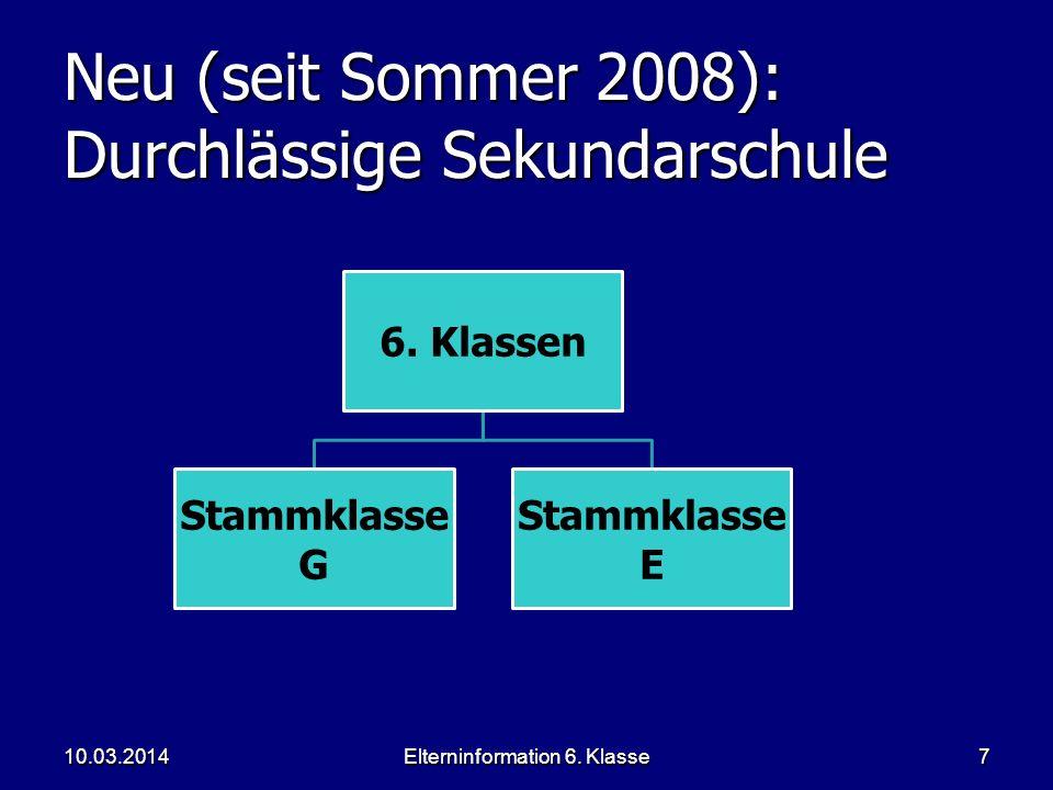Elterninformation 6. Klasse7 Neu (seit Sommer 2008): Durchlässige Sekundarschule 6. Klassen Stammklasse G Stammklasse E 10.03.2014