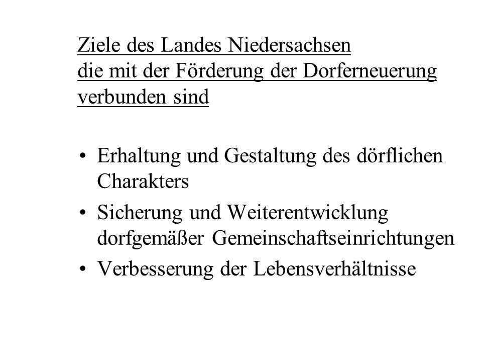 Ziele des Landes Niedersachsen die mit der Förderung der Dorferneuerung verbunden sind Erhaltung und Gestaltung des dörflichen Charakters Sicherung und Weiterentwicklung dorfgemäßer Gemeinschaftseinrichtungen Verbesserung der Lebensverhältnisse