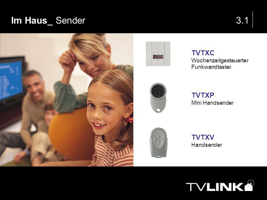 Im Haus_ Sender3.1 TVTXC Wochenzeitgesteuerter Funkwandtaster. TVTXP Mini Handsender TVTXV Handsender