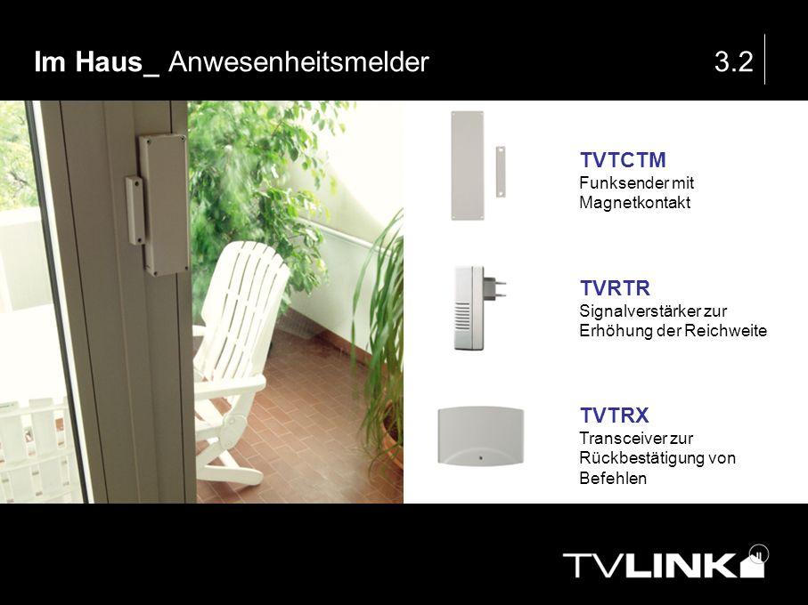 Im Haus_ Anwesenheitsmelder3.2 TVTCTM Funksender mit Magnetkontakt TVRTR Signalverstärker zur Erhöhung der Reichweite TVTRX Transceiver zur Rückbestät