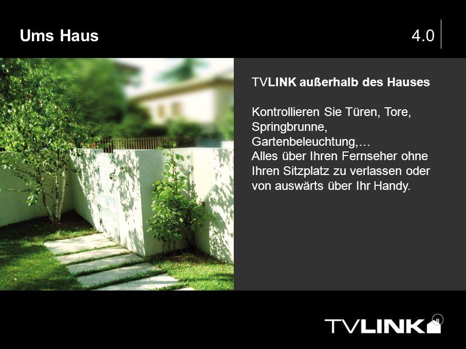 4.0 TVLINK außerhalb des Hauses Kontrollieren Sie Türen, Tore, Springbrunne, Gartenbeleuchtung,… Alles über Ihren Fernseher ohne Ihren Sitzplatz zu ve
