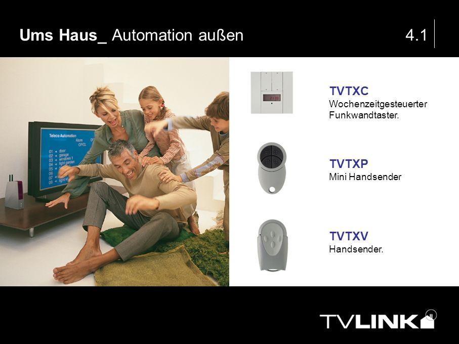 Ums Haus_ Automation außen4.1 TVTXC Wochenzeitgesteuerter Funkwandtaster. TVTXP Mini Handsender TVTXV Handsender.