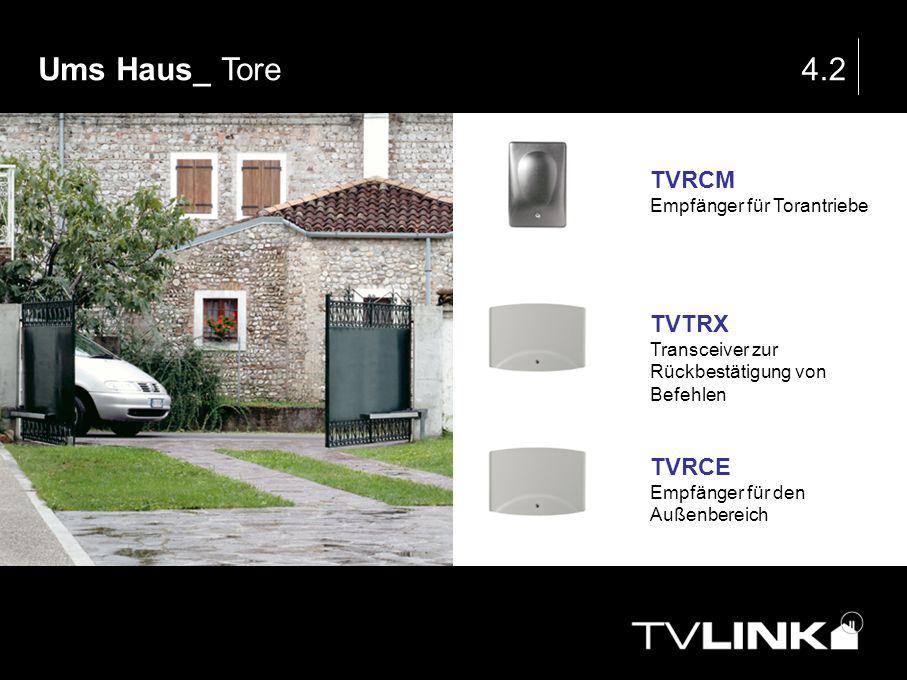 Ums Haus_ Tore4.2 TVRCM Empfänger für Torantriebe TVTRX Transceiver zur Rückbestätigung von Befehlen TVRCE Empfänger für den Außenbereich