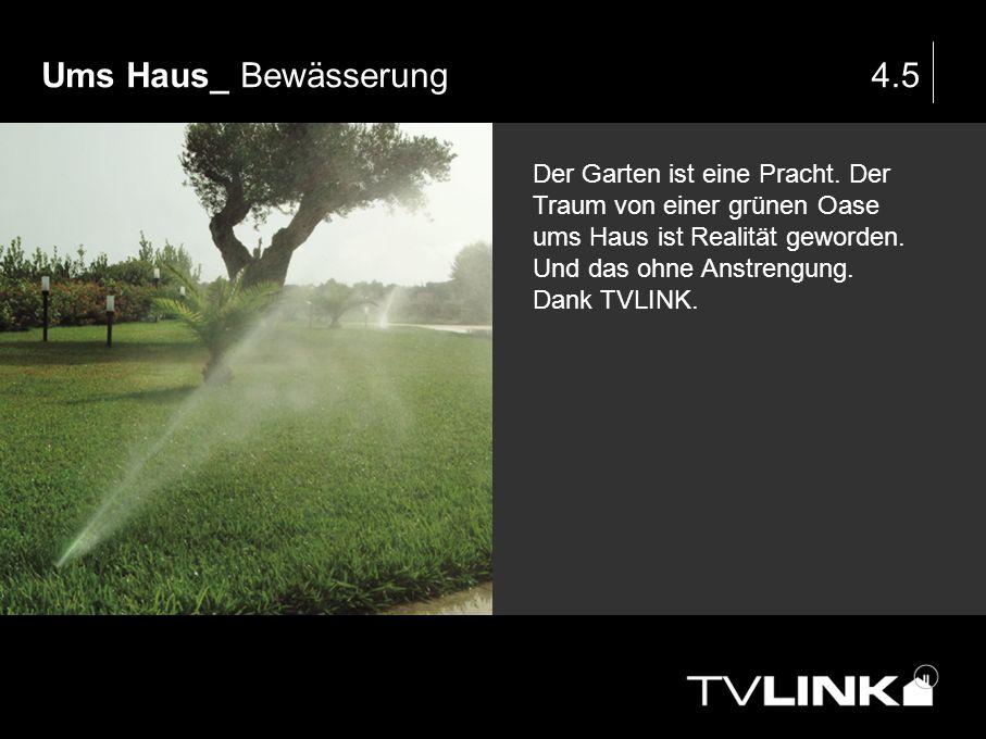 Ums Haus_ Bewässerung4.5 Der Garten ist eine Pracht. Der Traum von einer grünen Oase ums Haus ist Realität geworden. Und das ohne Anstrengung. Dank TV