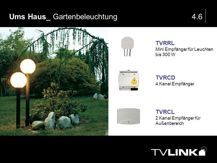 Ums Haus_ Gartenbeleuchtung4.6 TVRRL Mini Empfänger für Leuchten bis 300 W TVRCD 4 Kanal Empfänger TVRCL 2 Kanal Empfänger für Außenbereich