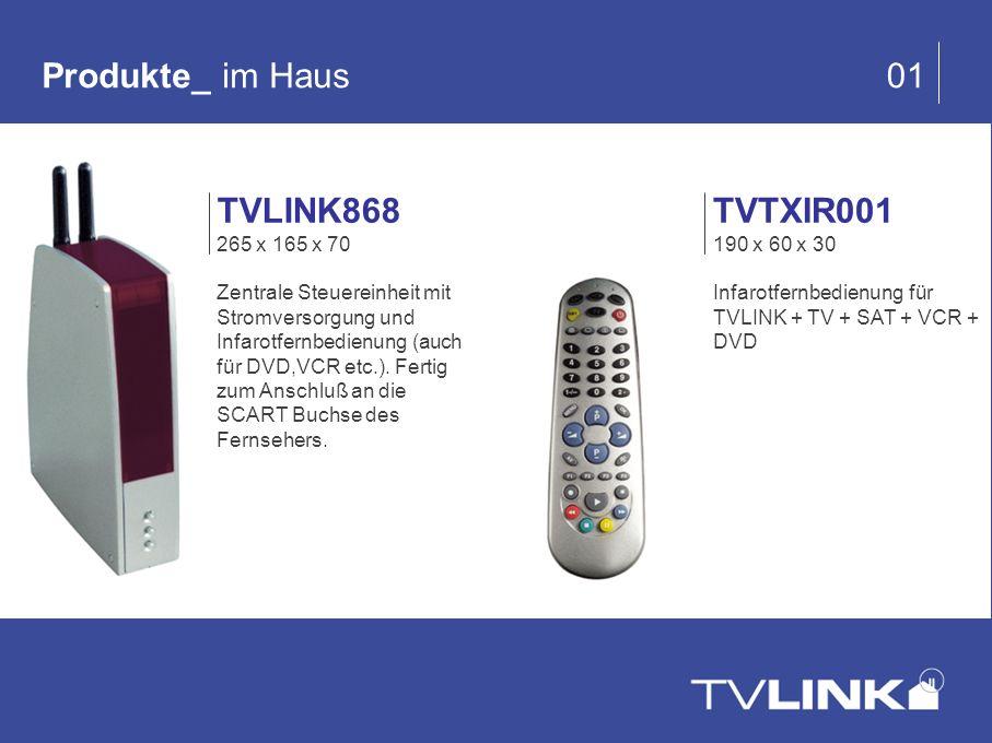 Produkte_ im Haus 01 TVTXIR001 190 x 60 x 30 Infarotfernbedienung für TVLINK + TV + SAT + VCR + DVD TVLINK868 265 x 165 x 70 Zentrale Steuereinheit mi