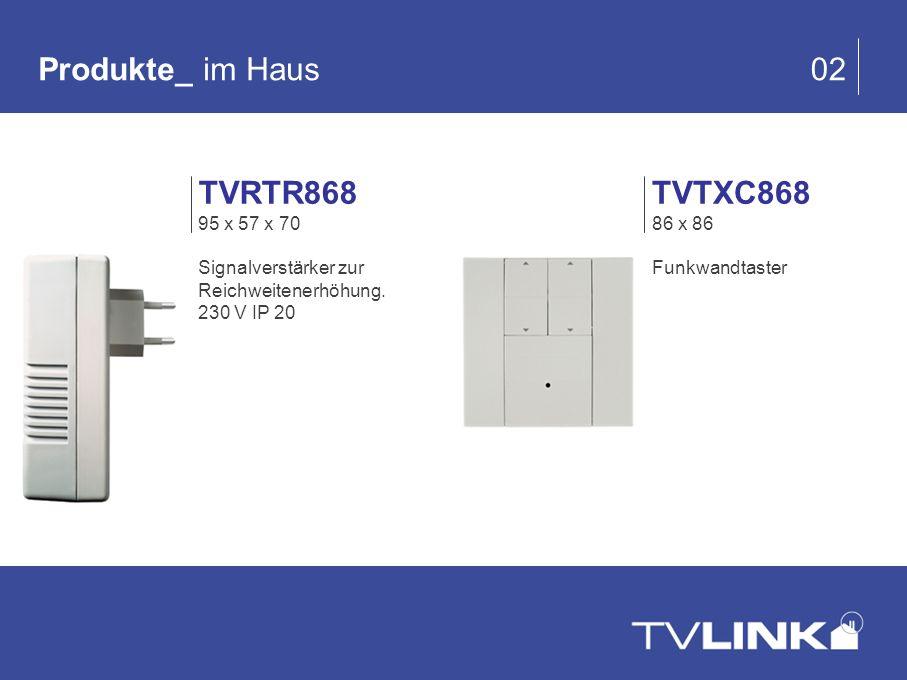Produkte_ im Haus 02 TVTXC868 86 x 86 Funkwandtaster TVRTR868 95 x 57 x 70 Signalverstärker zur Reichweitenerhöhung. 230 V IP 20