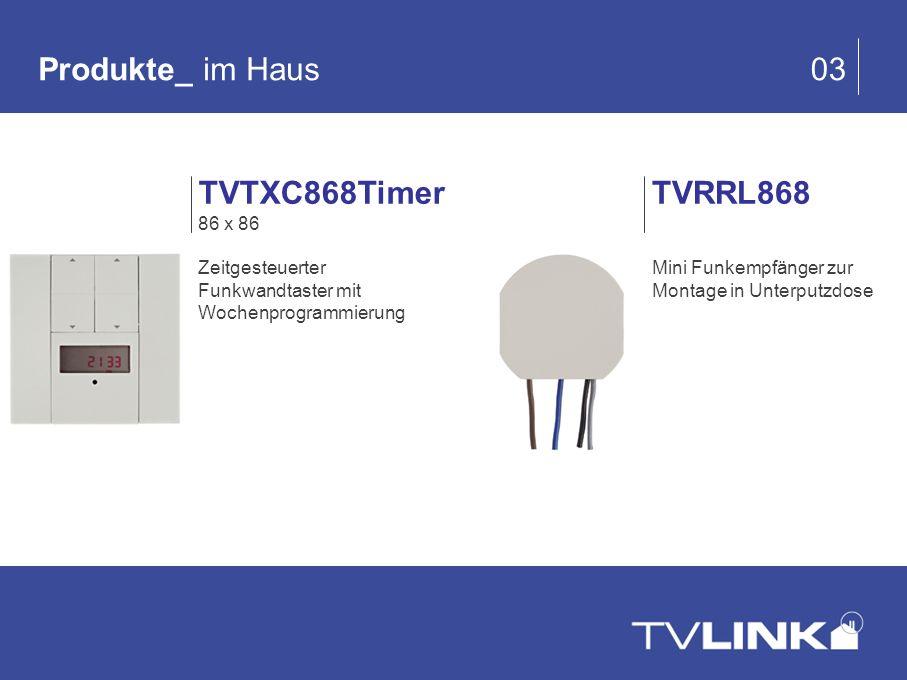 Produkte_ im Haus 03 TVRRL868 Mini Funkempfänger zur Montage in Unterputzdose TVTXC868Timer 86 x 86 Zeitgesteuerter Funkwandtaster mit Wochenprogrammi