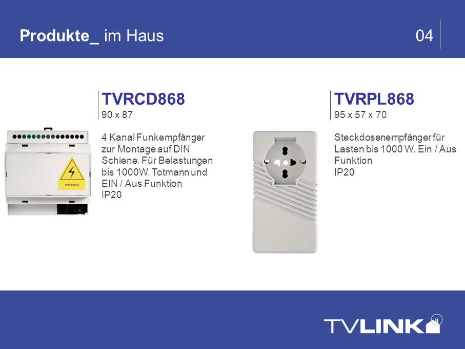 Produkte_ im Haus 04 TVRPL868 95 x 57 x 70 Steckdosenempfänger für Lasten bis 1000 W. Ein / Aus Funktion IP20 TVRCD868 90 x 87 4 Kanal Funkempfänger z