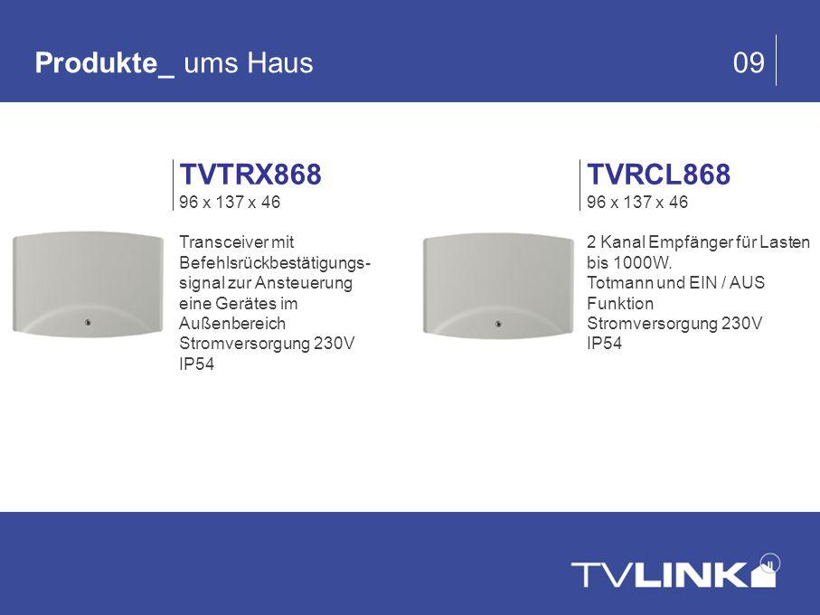 TVRCL868 96 x 137 x 46 2 Kanal Empfänger für Lasten bis 1000W. Totmann und EIN / AUS Funktion Stromversorgung 230V IP54 Produkte_ ums Haus 09 TVTRX868