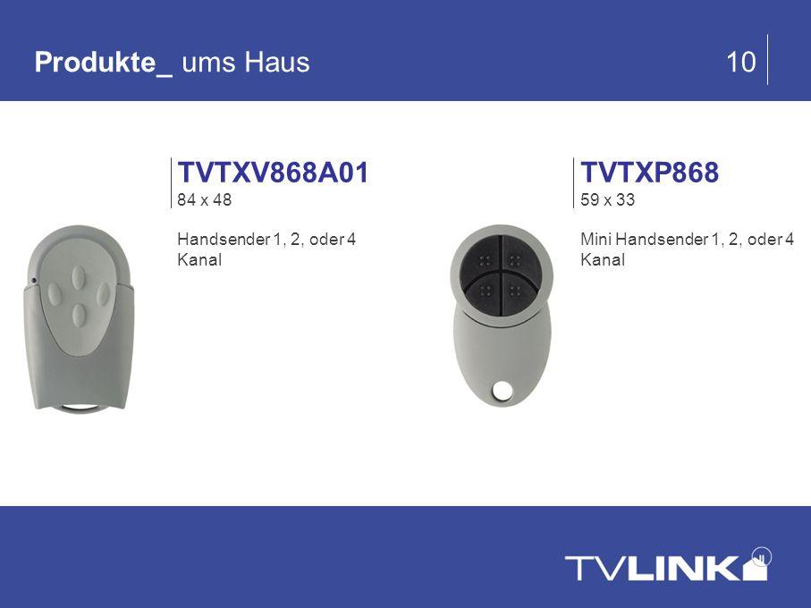 Produkte_ ums Haus 10 TVTXV868A01 84 x 48 Handsender 1, 2, oder 4 Kanal TVTXP868 59 x 33 Mini Handsender 1, 2, oder 4 Kanal