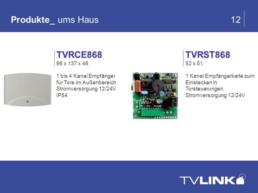 Produkte_ ums Haus 12 TVRST868 52 x 51 1 Kanal Empfängerkarte zum Einstecken in Torsteuerungen. Stromversorgung 12/24V TVRCE868 96 x 137 x 46 1 bis 4