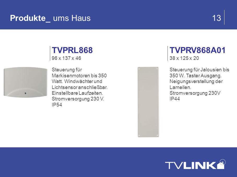 TVPRV868A01 38 x 125 x 20 Steuerung für Jalousien bis 350 W. Taster Ausgang. Neigungsverstellung der Lamellen. Stromversorgung 230V IP44 Produkte_ ums