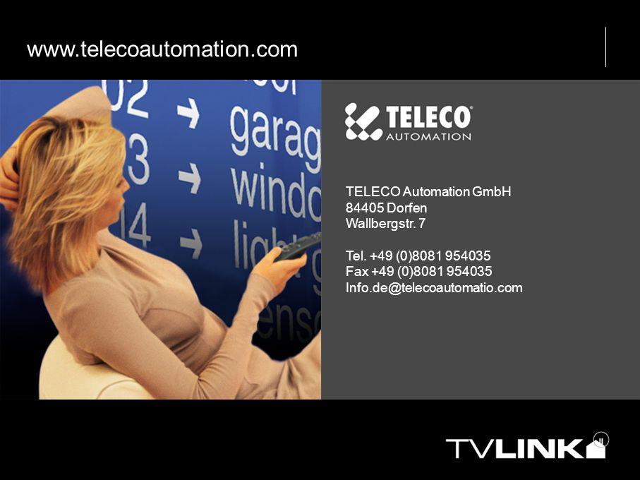 www.telecoautomation.com TELECO Automation GmbH 84405 Dorfen Wallbergstr. 7 Tel. +49 (0)8081 954035 Fax +49 (0)8081 954035 Info.de@telecoautomatio.com