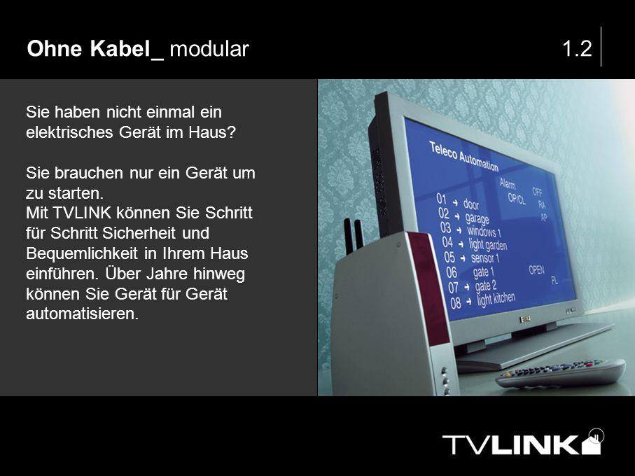 Ohne Kabel_ modular1.2 Sie haben nicht einmal ein elektrisches Gerät im Haus? Sie brauchen nur ein Gerät um zu starten. Mit TVLINK können Sie Schritt