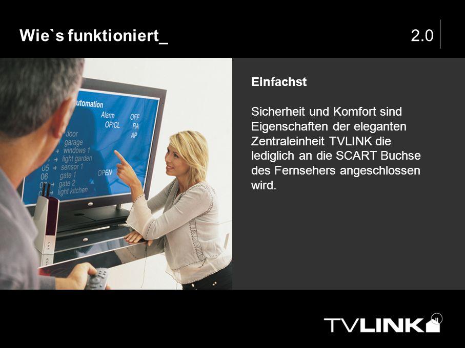 Wie`s funktioniert_2.0 Einfachst Sicherheit und Komfort sind Eigenschaften der eleganten Zentraleinheit TVLINK die lediglich an die SCART Buchse des F