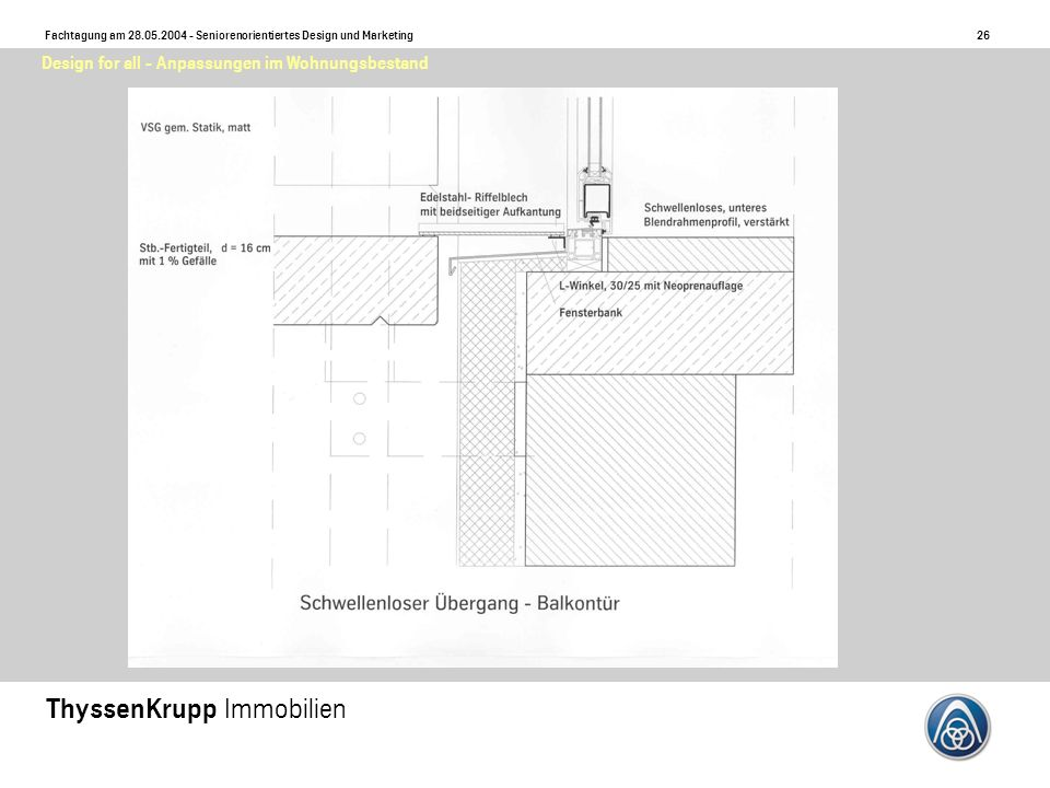 27 Fachtagung am 28.05.2004 - Seniorenorientiertes Design und Marketing ThyssenKrupp Immobilien Design for all - Anpassungen im Wohnungsbestand