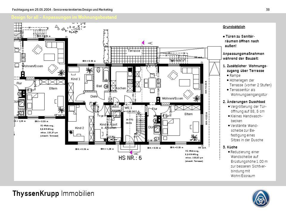38 Fachtagung am 28.05.2004 - Seniorenorientiertes Design und Marketing ThyssenKrupp Immobilien Design for all - Anpassungen im Wohnungsbestand Grundsätzlich Türen zu Sanitär- räumen öffnen nach außen.