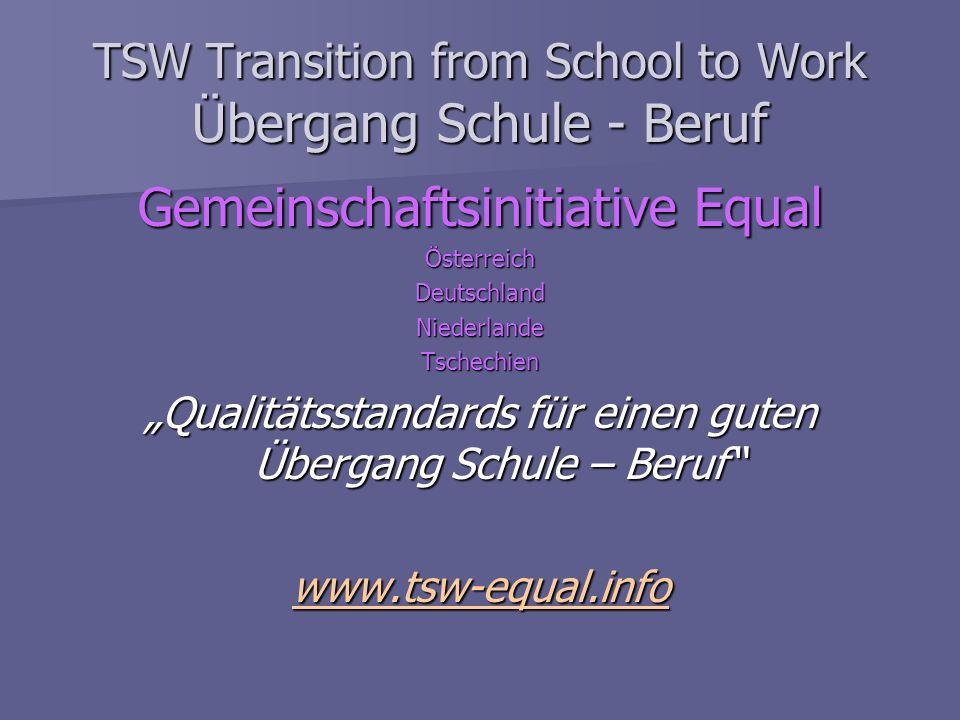 TSW Transition from School to Work Übergang Schule - Beruf Gemeinschaftsinitiative Equal ÖsterreichDeutschlandNiederlandeTschechien Qualitätsstandards