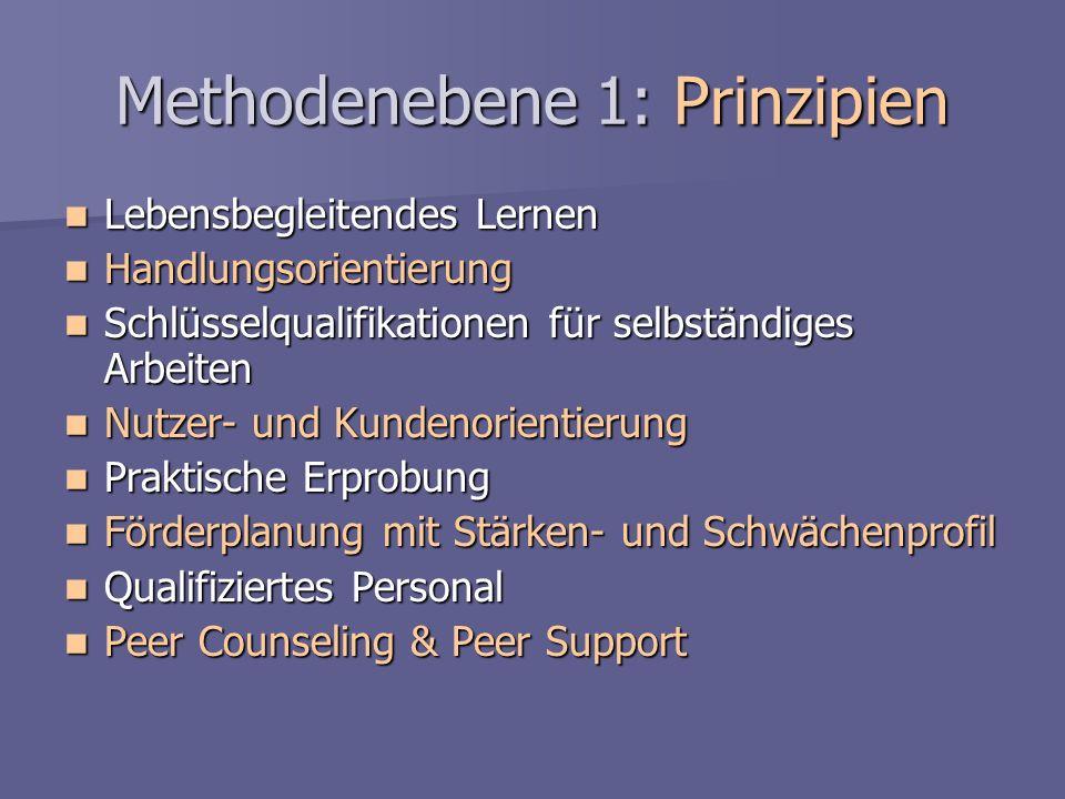 Methodenebene 1: Prinzipien Lebensbegleitendes Lernen Lebensbegleitendes Lernen Handlungsorientierung Handlungsorientierung Schlüsselqualifikationen f