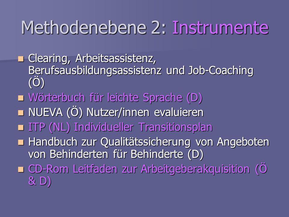 Methodenebene 2: Instrumente Clearing, Arbeitsassistenz, Berufsausbildungsassistenz und Job-Coaching (Ö) Clearing, Arbeitsassistenz, Berufsausbildungs