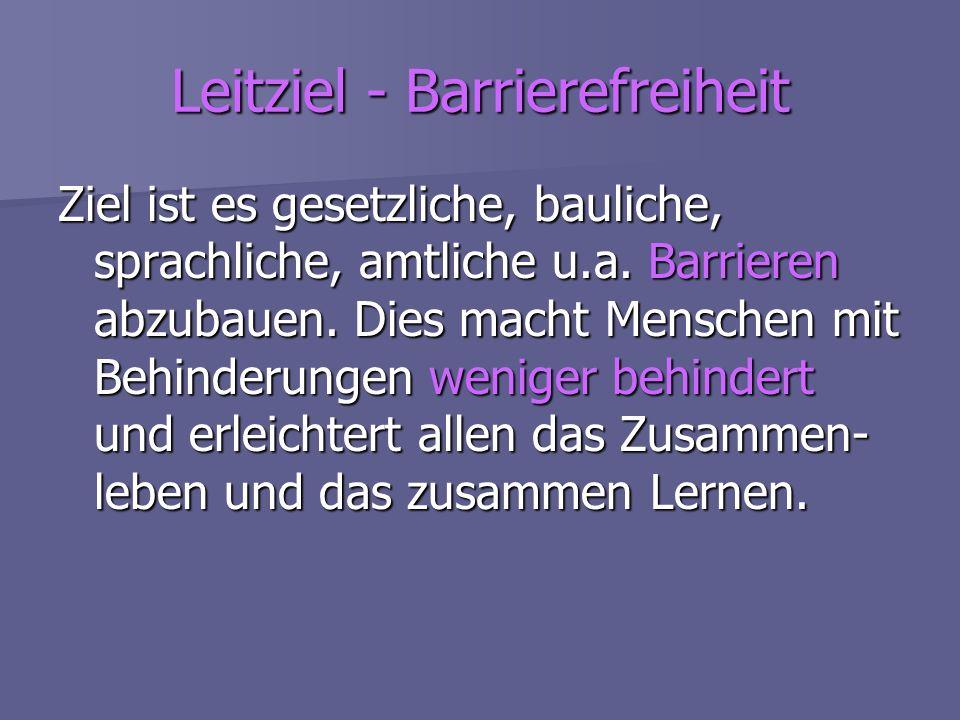 Leitziel - Barrierefreiheit Ziel ist es gesetzliche, bauliche, sprachliche, amtliche u.a. Barrieren abzubauen. Dies macht Menschen mit Behinderungen w