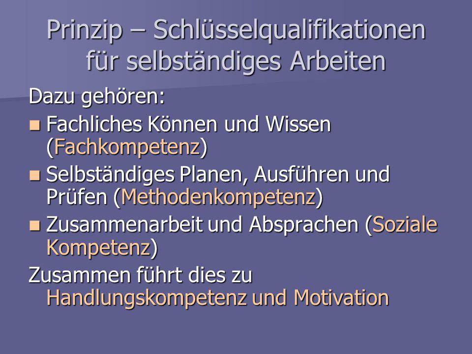 Prinzip – Schlüsselqualifikationen für selbständiges Arbeiten Dazu gehören: Fachliches Können und Wissen (Fachkompetenz) Fachliches Können und Wissen