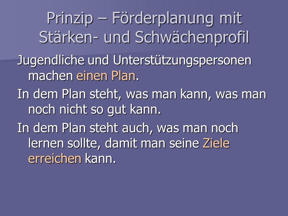 Prinzip – Förderplanung mit Stärken- und Schwächenprofil Jugendliche und Unterstützungspersonen machen einen Plan. In dem Plan steht, was man kann, wa