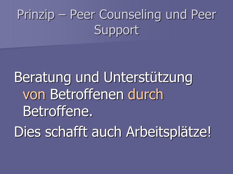 Prinzip – Peer Counseling und Peer Support Beratung und Unterstützung von Betroffenen durch Betroffene. Dies schafft auch Arbeitsplätze!