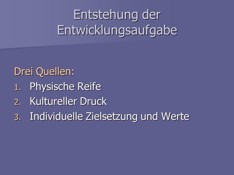 Entstehung der Entwicklungsaufgabe Drei Quellen: 1. Physische Reife 2. Kultureller Druck 3. Individuelle Zielsetzung und Werte