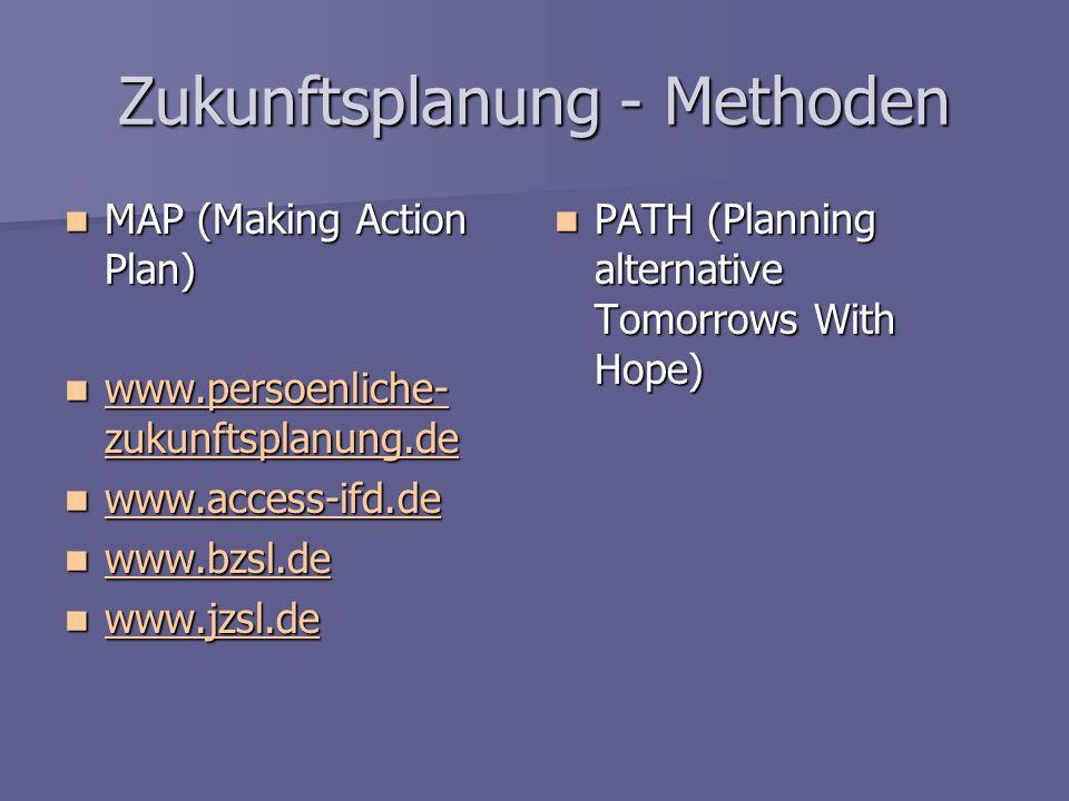 Zukunftsplanung - Methoden MAP (Making Action Plan) MAP (Making Action Plan) www.persoenliche- zukunftsplanung.de www.persoenliche- zukunftsplanung.de