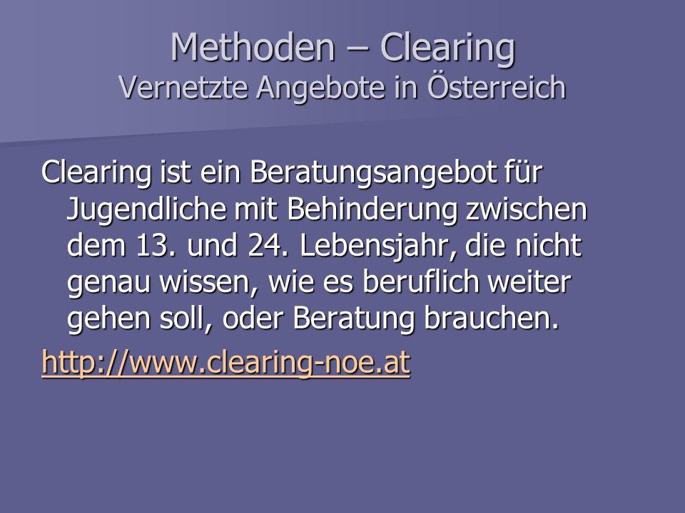 Methoden – Clearing Vernetzte Angebote in Österreich Clearing ist ein Beratungsangebot für Jugendliche mit Behinderung zwischen dem 13. und 24. Lebens