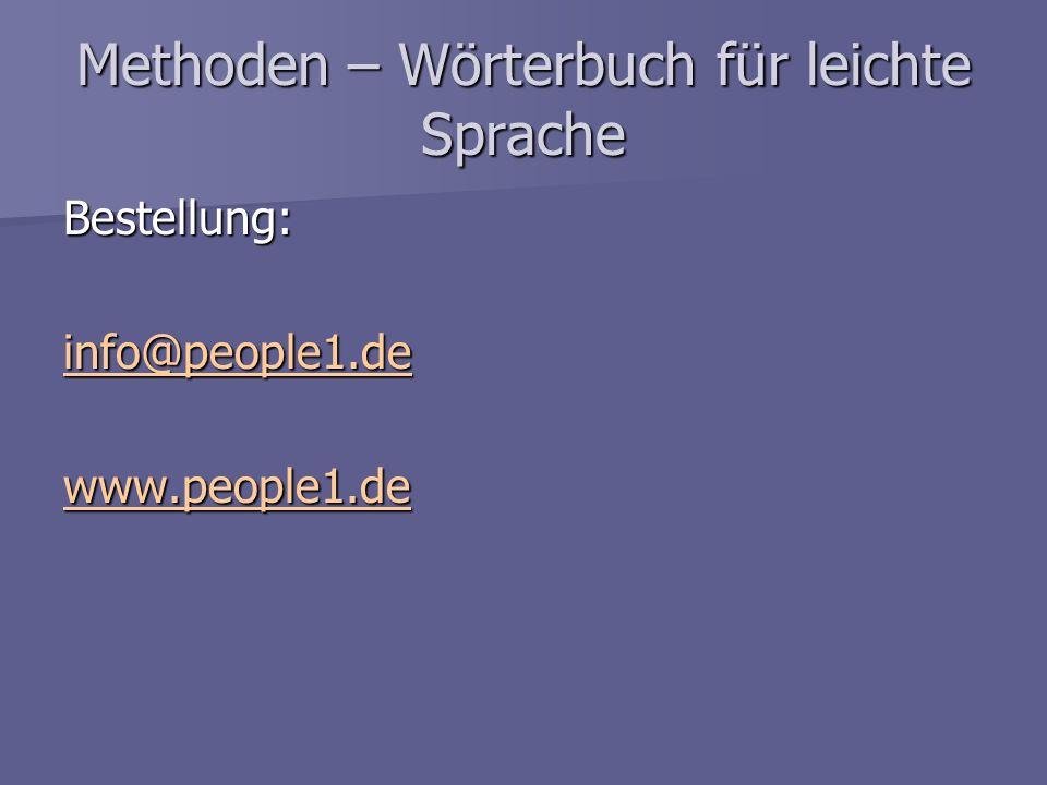 Methoden – Wörterbuch für leichte Sprache Bestellung: info@people1.de www.people1.de