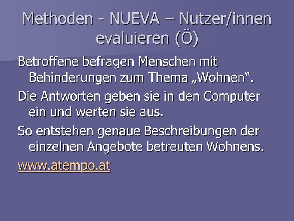 Methoden - NUEVA – Nutzer/innen evaluieren (Ö) Betroffene befragen Menschen mit Behinderungen zum Thema Wohnen. Die Antworten geben sie in den Compute