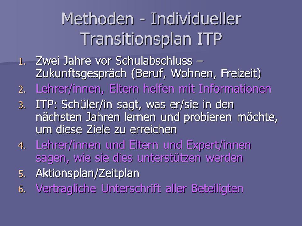 Methoden - Individueller Transitionsplan ITP 1. Zwei Jahre vor Schulabschluss – Zukunftsgespräch (Beruf, Wohnen, Freizeit) 2. Lehrer/innen, Eltern hel