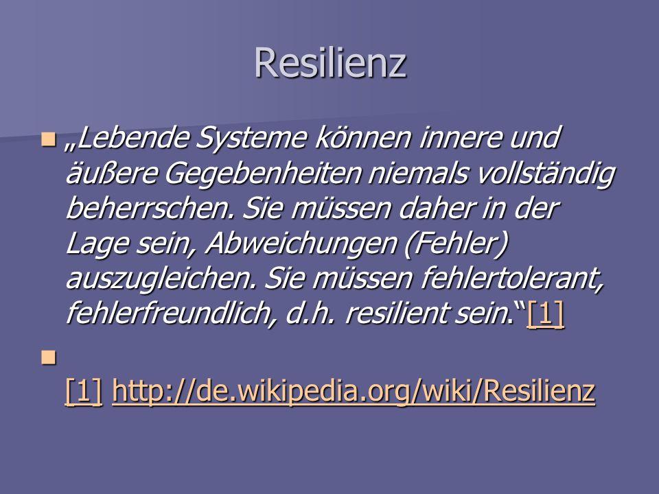 Resilienz Lebende Systeme können innere und äußere Gegebenheiten niemals vollständig beherrschen. Sie müssen daher in der Lage sein, Abweichungen (Feh