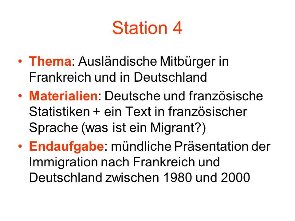 Station 4 Thema: Ausländische Mitbürger in Frankreich und in Deutschland Materialien: Deutsche und französische Statistiken + ein Text in französische