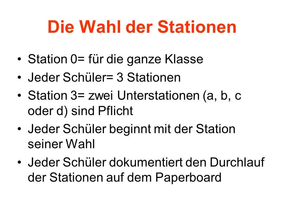 Die Wahl der Stationen Station 0= für die ganze Klasse Jeder Schüler= 3 Stationen Station 3= zwei Unterstationen (a, b, c oder d) sind Pflicht Jeder S