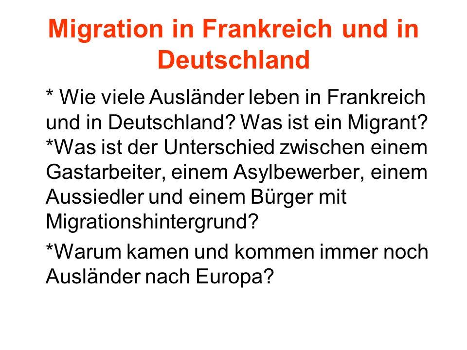 Migration in Frankreich und in Deutschland * Wie viele Ausländer leben in Frankreich und in Deutschland? Was ist ein Migrant? *Was ist der Unterschied