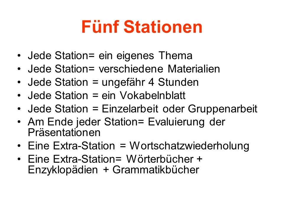 Fünf Stationen Jede Station= ein eigenes Thema Jede Station= verschiedene Materialien Jede Station = ungefähr 4 Stunden Jede Station = ein Vokabelnbla