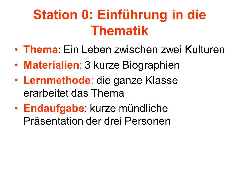 Station 0: Einführung in die Thematik Thema: Ein Leben zwischen zwei Kulturen Materialien: 3 kurze Biographien Lernmethode: die ganze Klasse erarbeite