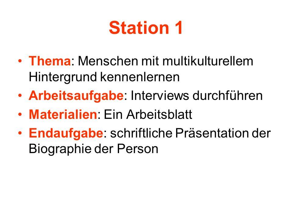 Station 1 Thema: Menschen mit multikulturellem Hintergrund kennenlernen Arbeitsaufgabe: Interviews durchführen Materialien: Ein Arbeitsblatt Endaufgab