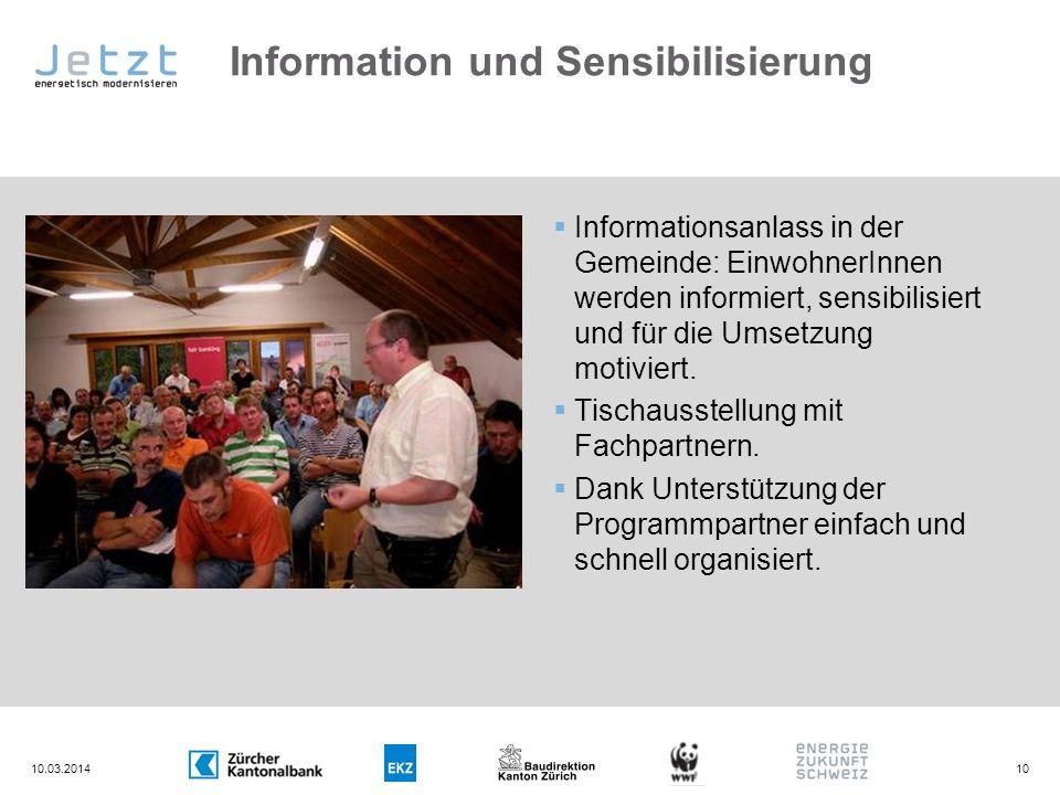Information und Sensibilisierung Informationsanlass in der Gemeinde: EinwohnerInnen werden informiert, sensibilisiert und für die Umsetzung motiviert.