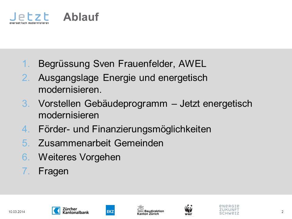Ablauf 1.Begrüssung Sven Frauenfelder, AWEL 2.Ausgangslage Energie und energetisch modernisieren. 3.Vorstellen Gebäudeprogramm – Jetzt energetisch mod