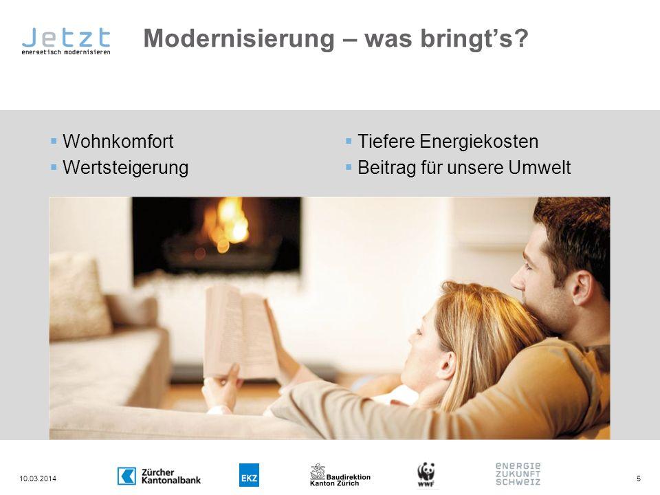 Modernisierung – was bringts? 10.03.20145 Wohnkomfort Wertsteigerung Tiefere Energiekosten Beitrag für unsere Umwelt